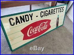Vintage Metal Coca Cola Fishtail Sign Candy-Cigarettes Rare, Very Large 5 feet
