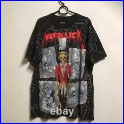 Vintage Metallica Print T-shirt L Size Short Sleeve Tee Very Rare