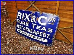 Vintage Original Large Enamel Sign Rix & Co. Pure Teas. Very Rare, Good Size