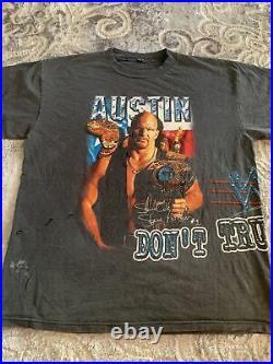 Vintage Very RARE WWF Stone Cold Steve Austin Dont Trust Any Body 2sidesPrint