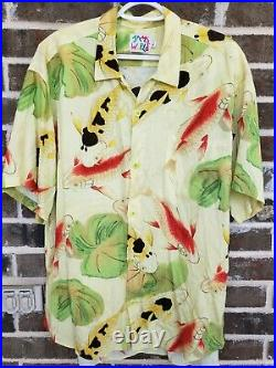 Vtg 90s Jams World Shirt L Hawaiian Surf koi fish VERY RARE