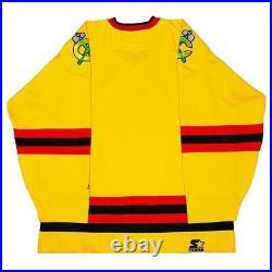 Vtg Very Rare NHL Chicago Blackhawks Gold Starter Hockey Jersey. Mens Large