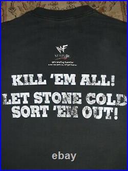 WWE VERY RARE Vintage Original 1998 WWF STONE COLD STEVE AUSTIN WRESTLING Shirt