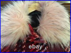 Zara VERY RARE WOOL Pink Red Tartan Checked Coat Fur Bloggers 7690/639 LARGE L